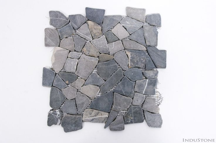 GREY INTERLOCK szara ŁAMANA mozaika kamienna na siatce INDUSTONE
