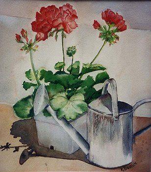 Geranium and Watercan by Katherine  Berlin