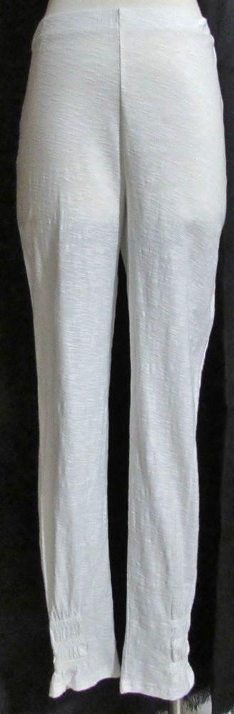 NEW Womens Ladies APT DESIGNS White Comfort Waist 100% Cotton Leggings Pants L #APTDesigns