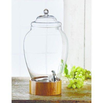 "Style Setter 338oz Glass Beverage Dispenser 10.1""D x 16.7""H, Clear"