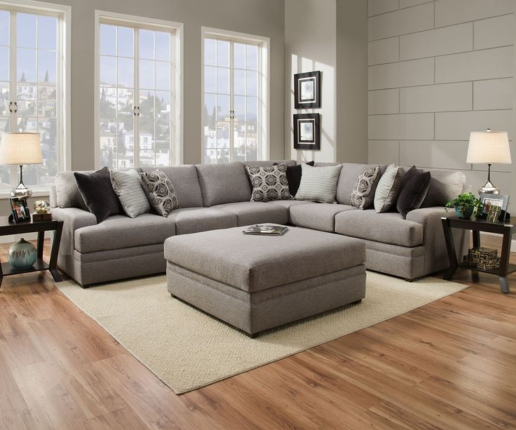 Le chateau 8561 simmons beautyrest sectional sofa grey for Living room furniture 0 finance