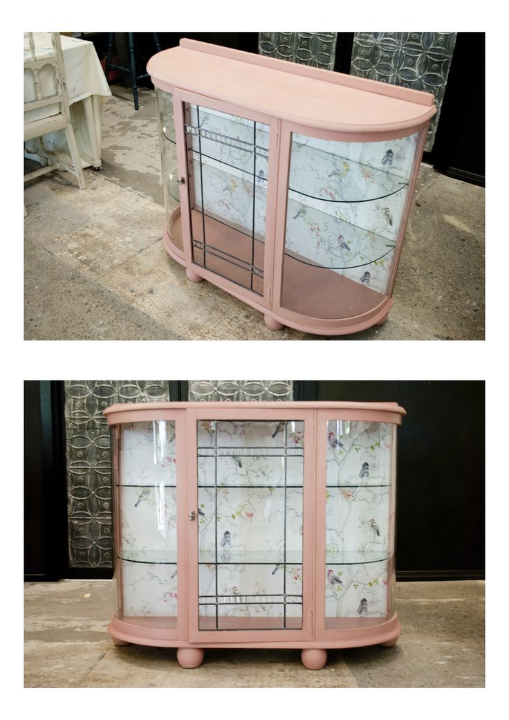 Created using Emperor's Silk, English Yellow and Country Grey Chalk Paint™. For this beautiful piece we've mixed a custom Dusky Pink to match in with the beautiful bird wallpaper we'd used to line the back of the cabinet. It has then been finished with a clear wax and very lightly sanded on the edges.