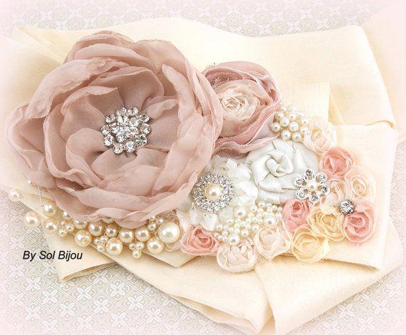 Wedding Sash Blush Rose Quartz Cream Ivory Bridal