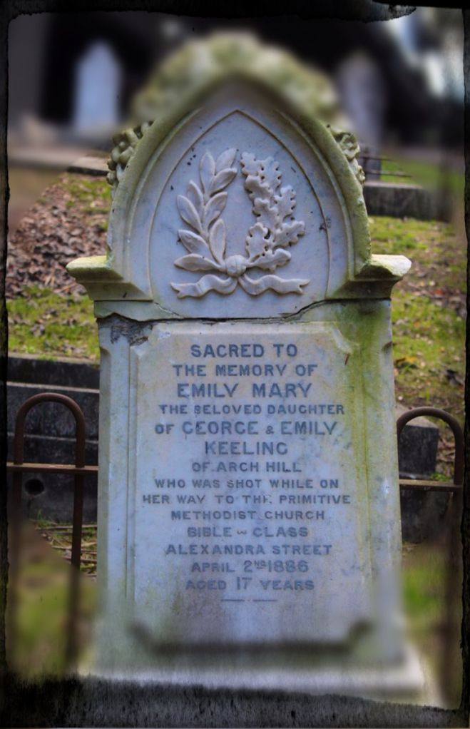 A monument to the short life of Emily Keeling; murdered aged 17. Monument erected by members of her church and other well-wishers. Photo: Su...