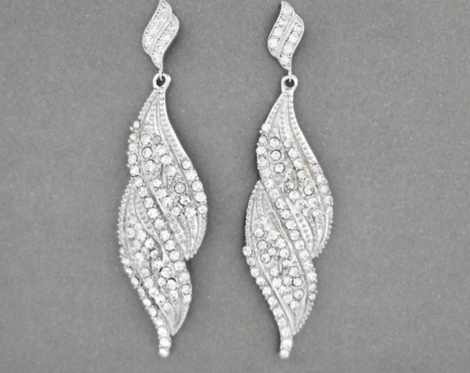 """Long crystal earrings ~ 3"""" long ~ Sterling silver posts ~ SUPER SPARKLY ~ Brides earrings ~ Bridesmaids ~ Prom, Pageant earrings ~"""