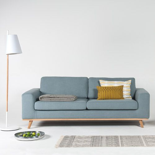 Canapé en lin L 220 pieds en chêne Norway Arne Lykke - Bleu clair