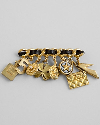 Chanel Leather Chain Charm Pin