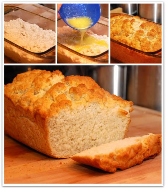"Homemade Beer Bread  3 cups flour  2 T. sugar  1 tablespoon baking powder  1/2 teaspoon salt  1 (12-ounce) bottle beer, ginger ale or 7up  3 tablespoons butter, melted poured over the top.  Preheat oven to 350 degrees. Spray a 5"" x 9"" loaf pan with cooking spray.    Bake 50-60 minutes.  Serve warm or cold."