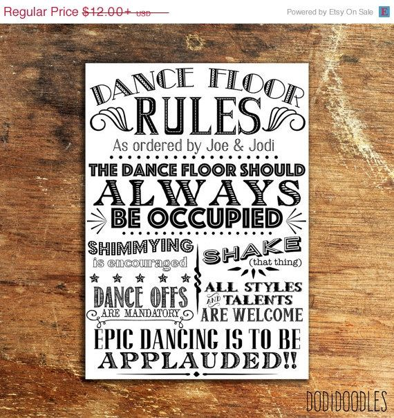 70% OFF THRU 4/25 Dance Floor Rules Custom by dodidoodles on Etsy