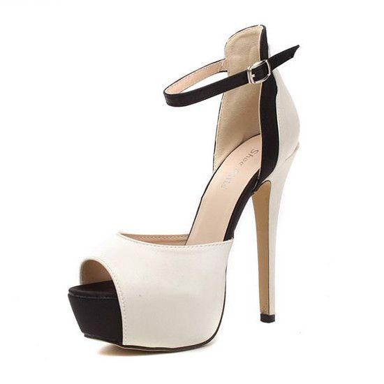 White/Black Peep Toe Platform Heels