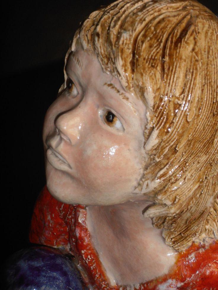 Augenblick Der Kindheit Skulptur Keramik Gebrannter Ton
