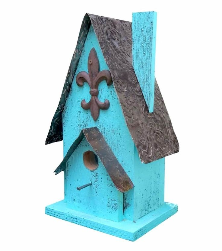 Rustic Barn Wood & Tin Birdhouse hosts bluebirds and others, easy clean-out, pole- or post-mount
