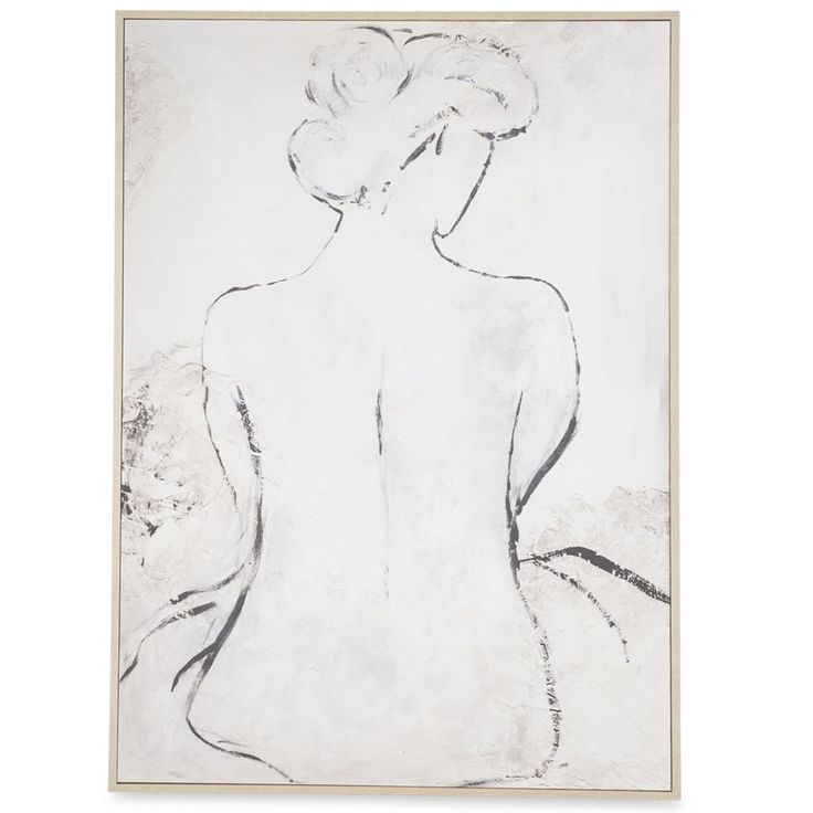 Female Abstract Black & White Form Wooden Framed Canvas Wall Art $114.90