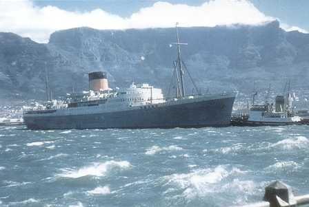Br.S.14 Pretoria Castle, Table Bay - Oct 5th 1956 Union-Castle Ocean Liner Postcards by Edwards