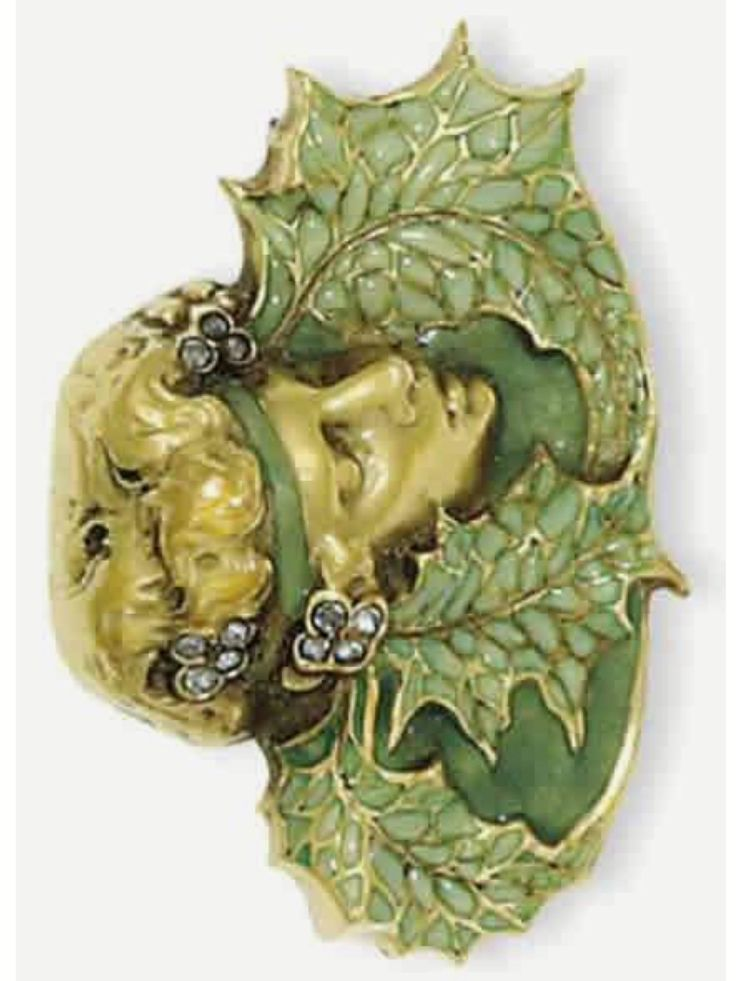 R.Lalique 1900 'Leafed Woman' Brooch: diamonds/ enamel on gold, in the form of a female head w/headband of enveloping leaves // rlalique.com