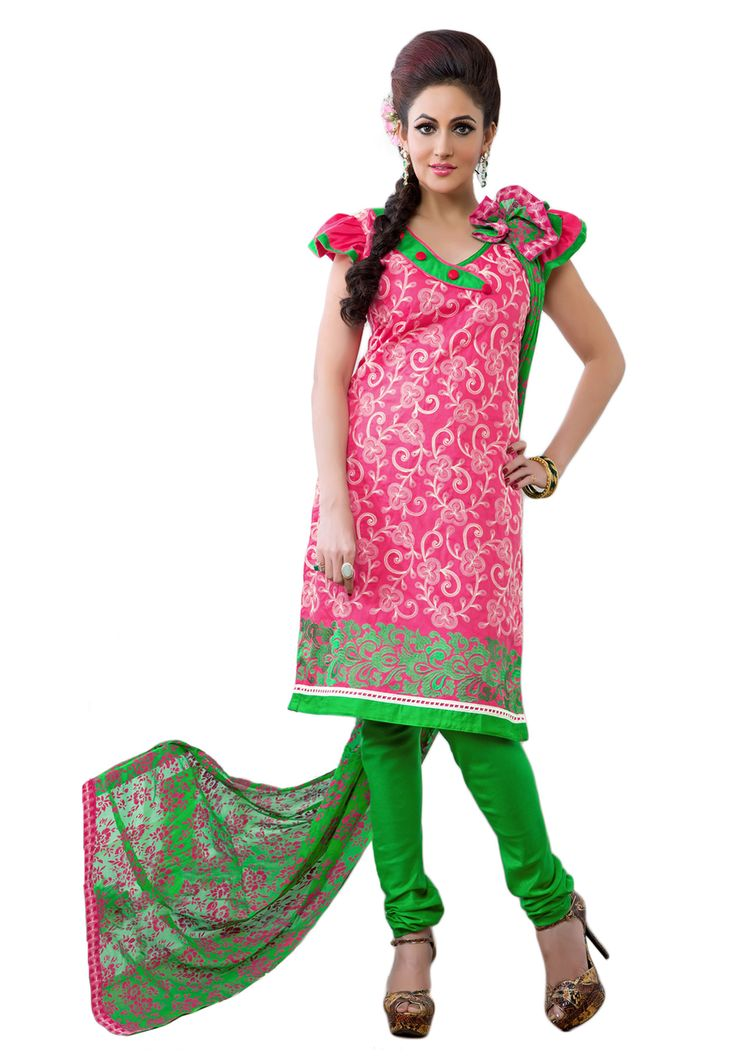 #Pink #Green #Dresmaterail #Casualwear #Officewear #Occasionalwear buy at salwarstudio.com