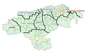 Resultado de imagen de mapa de las comarcas de cantabria