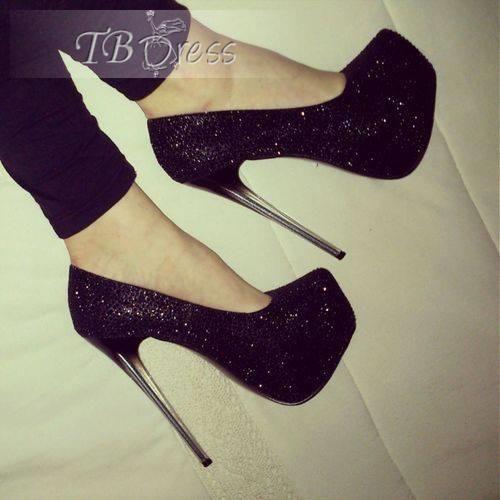 Amazing Cool Fashion Black High Stiletto Heel Platform Shining Pumps. #Shoes #Fashion #Heel from tbdress.