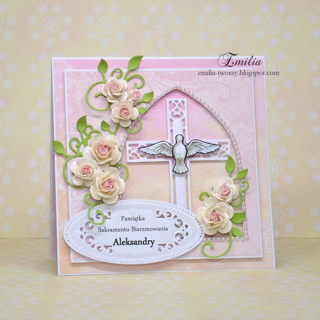 Kartka na bierzmowanie w delikatnym różu/Card for confirmation