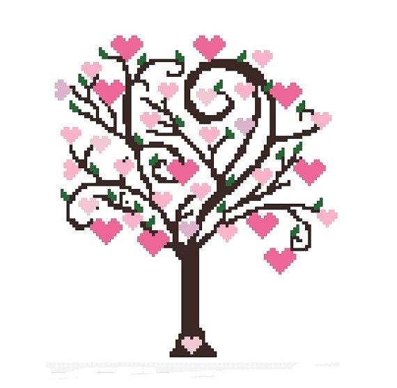 Cute Tree Cross Stitch Pattern, Heart Tree Cross-Stitch Pattern PDF