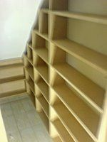 shelving for the understairs cupboard. simply but think of all the extra room!