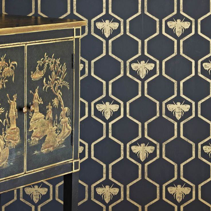Geometric Trellis Charcoal Gold Honey Bees Insect Wallpaper Barneby Gates | eBay ($225 per roll)