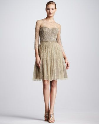 Bead-Overlay Cocktail Dress by Pamella Roland- VERY ELEGANT AND CLASSY :)
