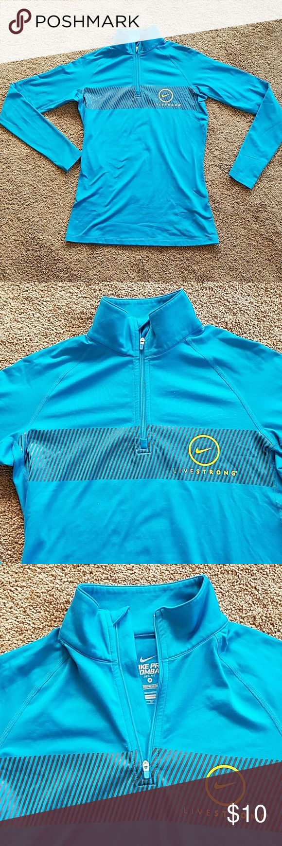 Nike livestrong pro combat 1/4 zip long sleeve Fantastic condition! Nike livestrong pro combat1/4 zip long sleeve. It does have the thumb holes, great for working out in! Nike Tops Sweatshirts & Hoodies