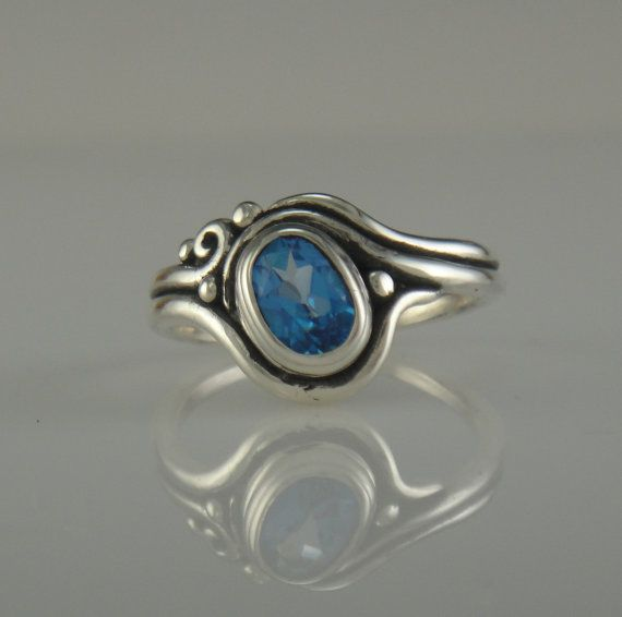 Sterling Silver and English Blue Topaz Ring by DenimAndDiaJewelry, $220.00