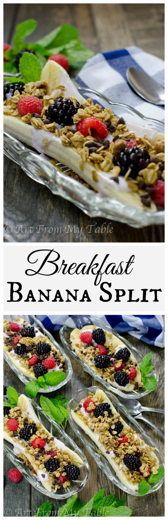 Breakfast Banana Split — banana, Greek yogurt, fresh fruit and granola. To make even healthier, use plain Greek yogurt and add extra fruit. || Healthy breakfast recipe || Vegetarian recipe || 21 Day Fix