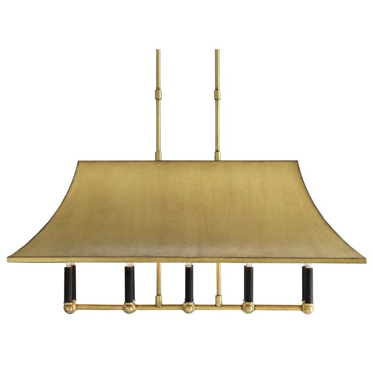 Contemporary iron and brass island chandelier