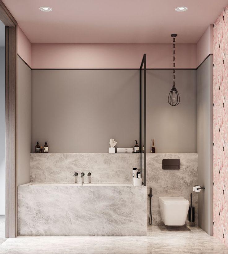 Rosa Pastellfarben Marmor Optik Trend Lampe Badezimmer Grau