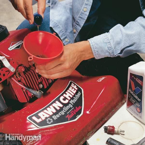 Extend the life of your lawnmower by winterizing the engine. Adding fuel stabilizer and a few ounces of oil will help the engine start right up without hesitation in the spring.