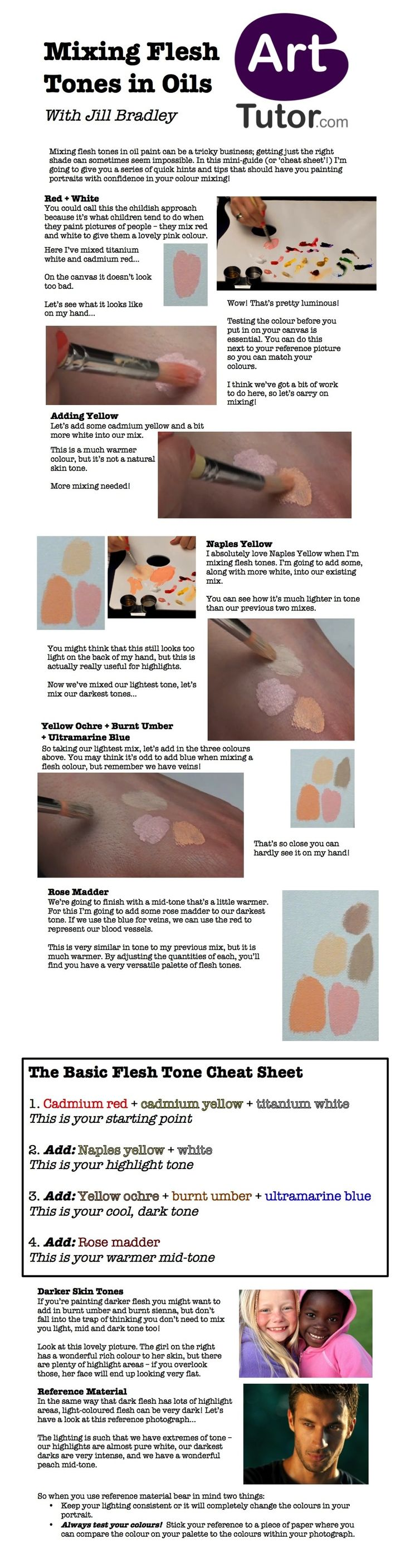 Do you struggle getting realistic flesh tones when painting in oils? Check out this free guide (including cheat sheet!) for some great tips on getting natural-looking flesh tones every time. You can also download a PDF version of this guide by following the link. #oilportraits
