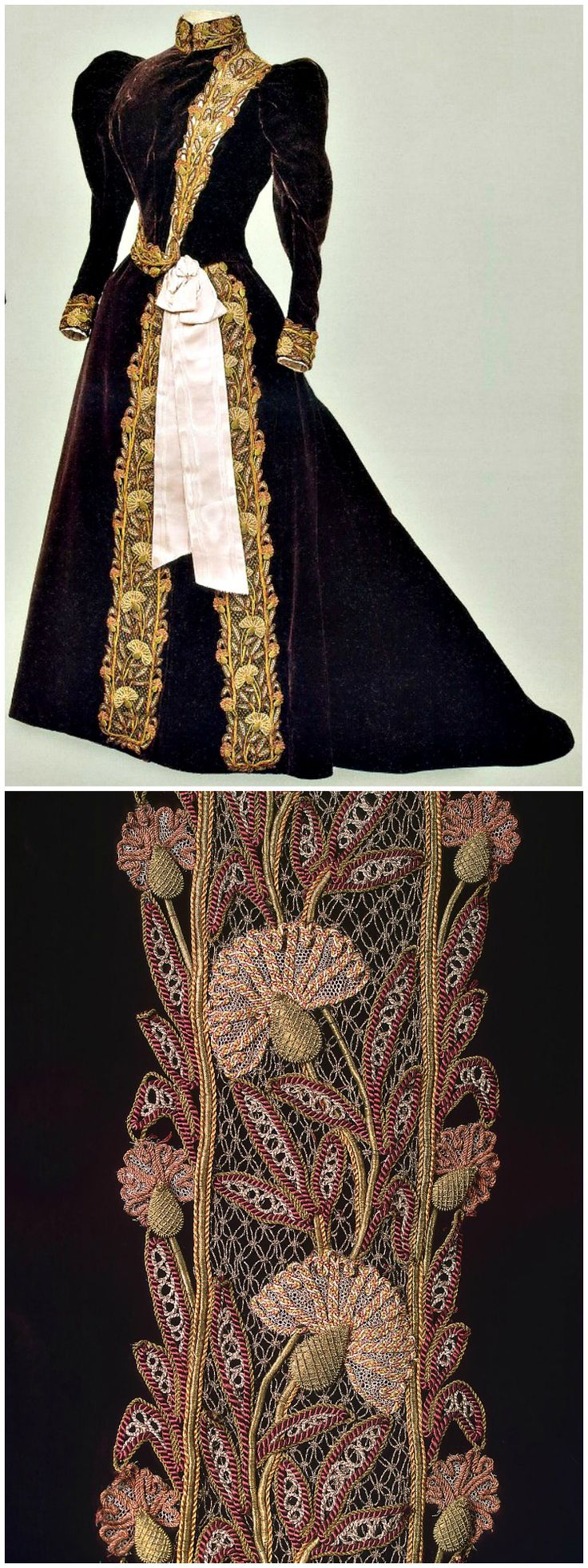 Dress of Empress Maria Fyodorovna, by Charles Frederick Worth's Firm, Paris, 1890s, at the State Hermitage Museum. Velvet, silk and metal thread, moiré ribbon.