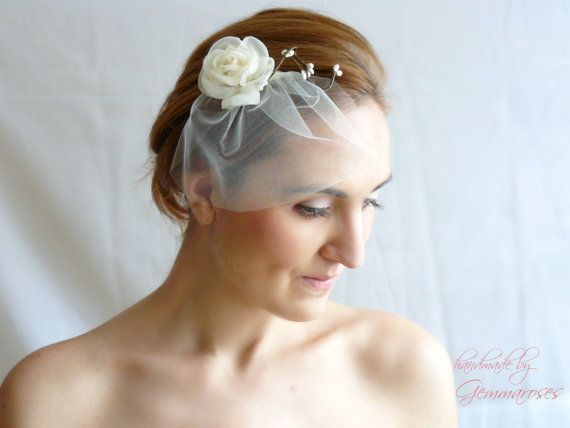Mini Illusion Tulle Birdcage Veil with rose, Fascinator - by   GEMMAROSES