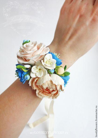 Браслет с цветами из полимерной глины - белый,цветы ручной работы,свадебные аксессуары