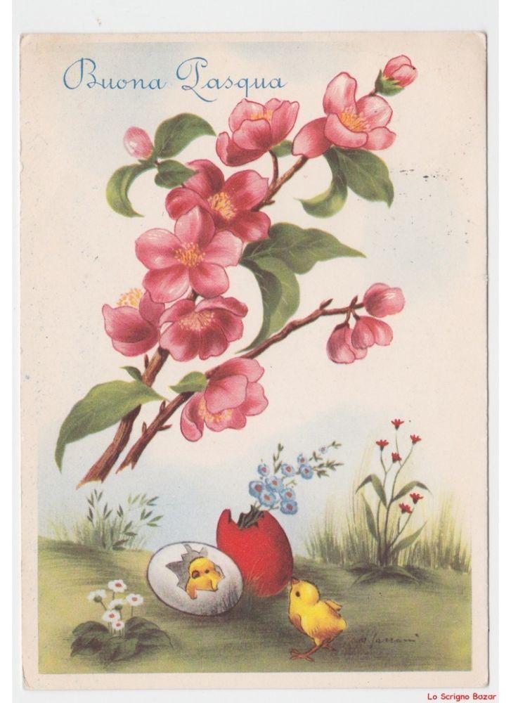 Fiori Vintage.Dettagli Su Cartolina Vintage Buona Pasqua Rami Fiori Di Pesco