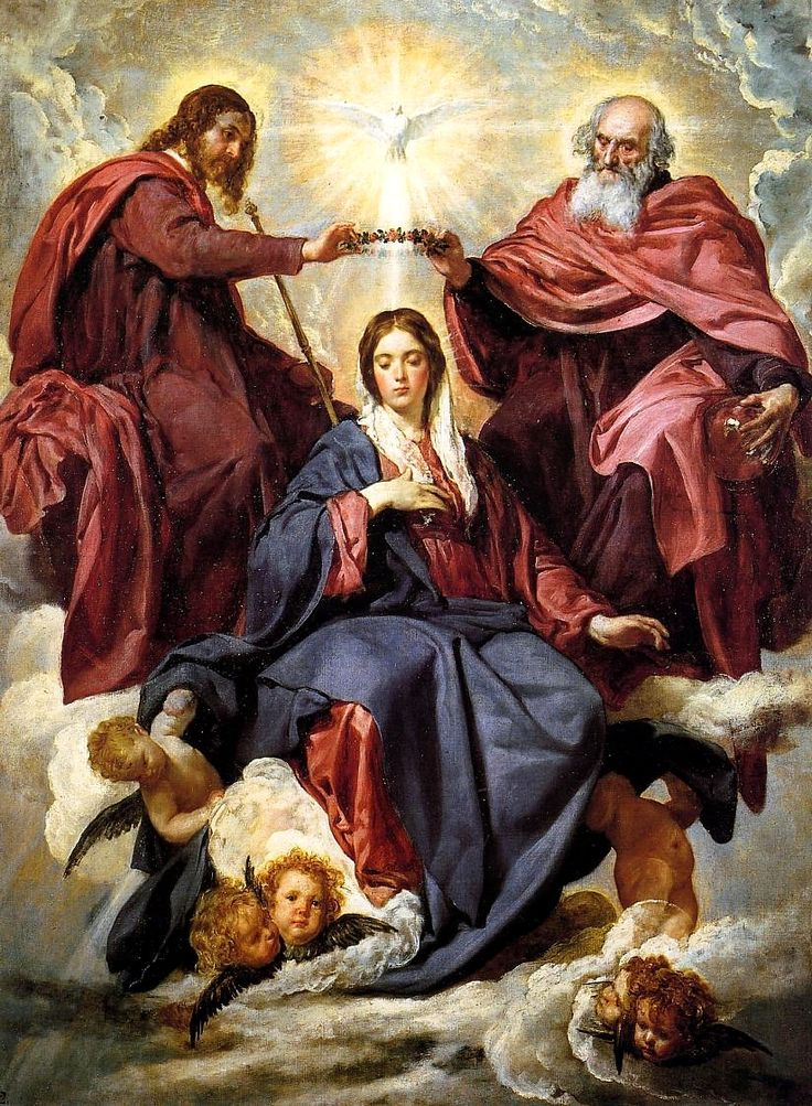 """The Coronation of the Virgin was painted around 1645 by Diego Velázquez (1599–1660) of the Holy Trinity crowning the Blessed Virgin Mary. oil on canvas 1785 × 1345 mm Prado Museum NOTE: This image is """"stretched vertically"""", compared to the original. http://en.wikipedia.org/wiki/Coronation_of_the_Virgin_%28Vel%C3%A1zquez%29"""