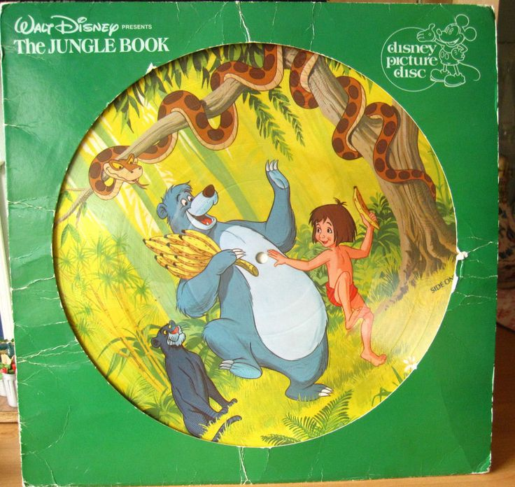 Vintage DISNEY PICTURE DISC animated The Jungle Book Soundtrack LP RECORD+Sleeve #Disney