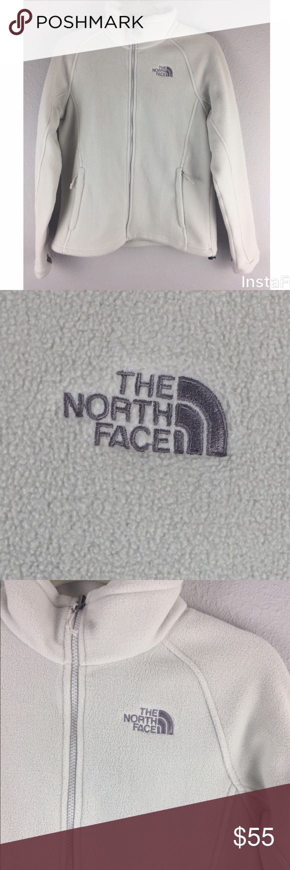 {North Face} NWOT Osito White Zip Up Jacket Fleece New With Out Tags. North Face Osito zip up jacket fleece. Grey North Face logo on the front and back. Two Zip front pockets. Size Medium. 100% Polyester. 💲All Reasonable Offers Welcomed💲 North Face Jackets & Coats