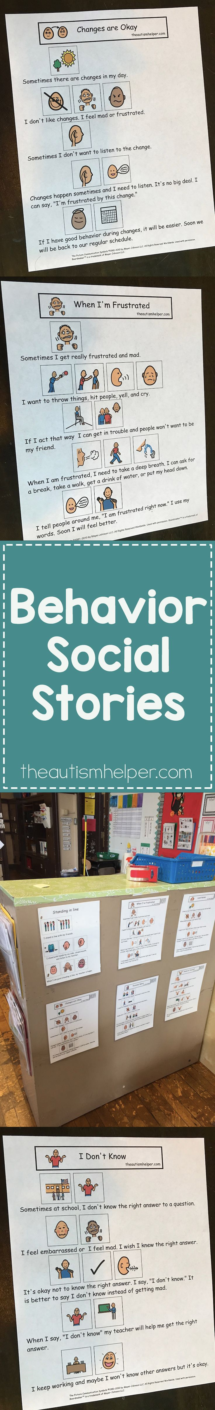 Follow along with the blog for helpful tips for using social stories to help reduce problem behaviors! From theautismhelper.com #theautismhelper