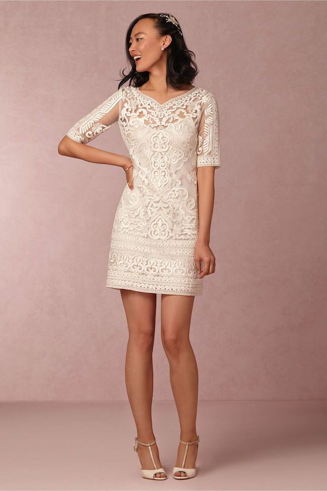 Break from tradition and wear a short wedding dress. This one is so pretty and elegant.