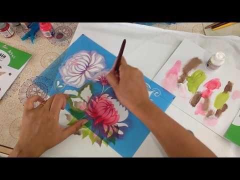 Pintando toalha de rosto com tintas SilverBrigth e stencil - YouTube