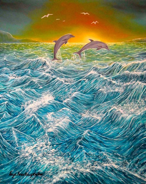 Poster,  dolphins,waves,seascape,ocean,scene,water,fish,sunset,sunrise,nature,rough,big,high,crashing,breaking,splashing,spray,blue,playful,jumping,beautiful,image,fine,oil,painting,contemporary,scenic,modern,virtual,deviant,wall,art,awesome,cool,artistic,artwork,for,sale,home,office,decor,decoration,decorative,items,ideas