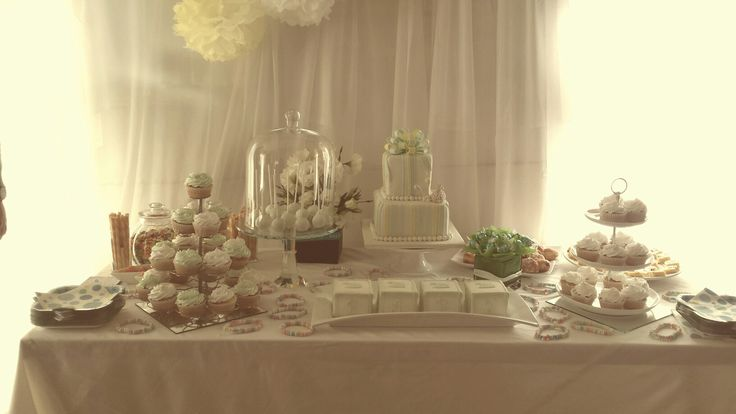 White an mint green babies naming ceremony.