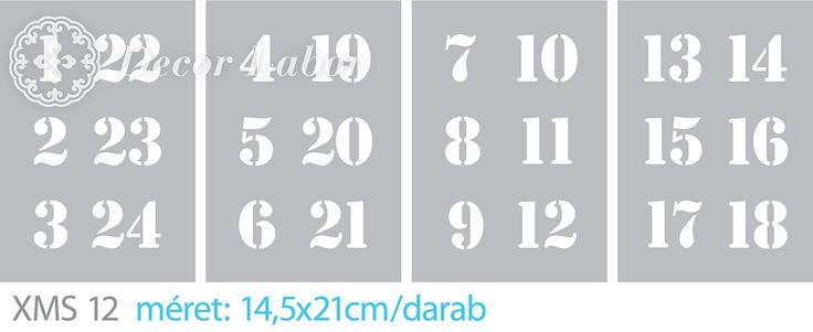 advent calendar numbers 1-24 - stencil - adventi naptár stencil http://decorlabor.hu/