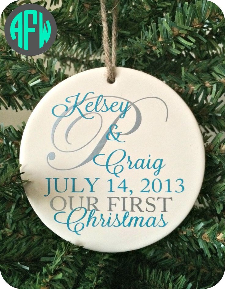 Our First Christmas Ornament - Personalized - Couples Gift- Wedding Gift - Newlywed - Just Married - Mr and Mrs by AFWifeCreations on Etsy https://www.etsy.com/listing/207615265/our-first-christmas-ornament