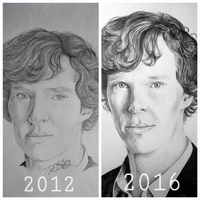 #thenandnow #compare #improvements #progress #motivation #sketch #portrait #pencil #drawing #grow #fanart #celebrity #actor #benedictcumberbatch #sherlockbbc #smaug #artistasy #art_4share #arts_help #iloveart #artshelp2 #artistic_share #artistoninstagram