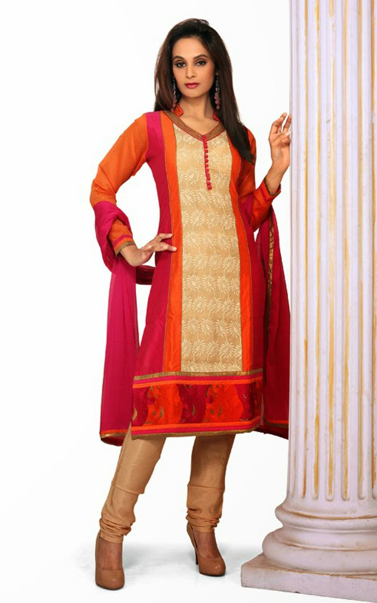 FAWN & RED CHANDERI COTTON SALWAR KAMEEZ - DIF 29719